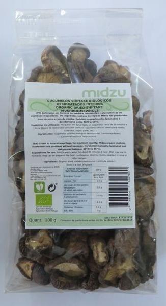 Funghi Shiitake Interi Biologici Disidratati Midzu 100 g