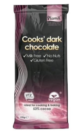 Cooks' Dark Chocolate (Cioccolato Fondente per Chef) Plamil Tavoletta di 150 g - senza glutine