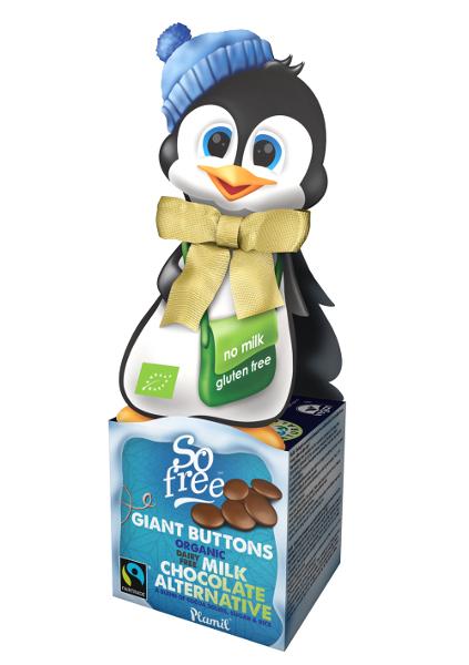 Scatola simpatica pinguino con cioccolato equosolidale, bottoni di cioccolato - gluten-free