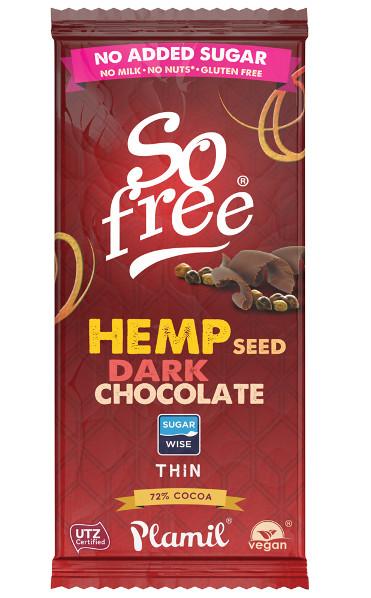 Cioccolato dietetico con semi di canapa So Free 70g - senza glutine